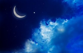Blue night sky with crescent moon, stars and cloud