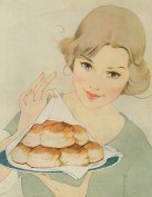 Woman Serving Warm Biscuits