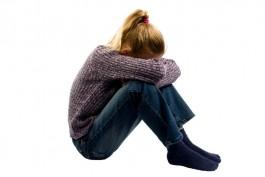 sad girl isolated on white background