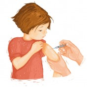 Vaccinating a young girl.