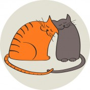 two cats in love, illustration