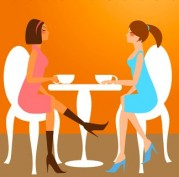 Two Woman Lady Friends Having Coffee at Cafe Cake Pastry Shop Illustration