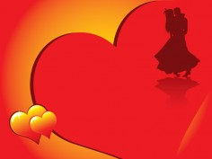 Valentine's day card with romantic couple silhouette and beautiful glowing hearts