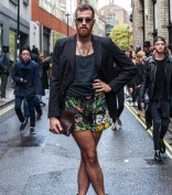 London, UK. 18 September 2015.  Members of the public show off their latest street fashions as London Fashion Week launches at its new venue at Brewer Street Car Park in Soho.   © Stephen Chung / Alamy Live News