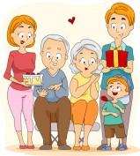 Illustration of a Family Celebrating Grandparents' Day
