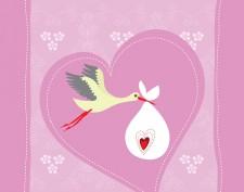 Newborn girl arrival greeting card