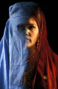Portrait of woman with and without a burka