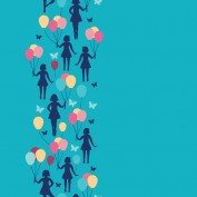 Girls holding balloons vertical seamless pattern background. Image shot 07/2013. Exact date unknown.