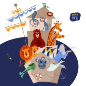 Bible story. Noah's ark with various animal pairs (monkey, bear, giraffe, lion, penguin, crocodile, koala, goose, pigeon, crab). Black and white.