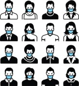 People wearing face masks black and white icon set